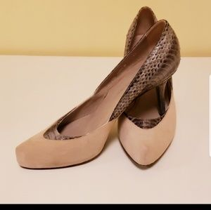 Donald J. Pliner suede and snake scale pumps